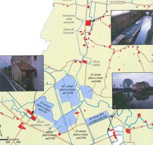 """Mappa delle coltivazioni del 1600 di riso Vialone Nano di Grumolo delle Abbadesse, tratto dal libro """"Grumolo, studio sull'evoluzione del territorio di Matteo Barban"""""""